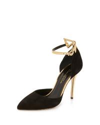 Zapatos de tacón de ante en negro y dorado de Oscar de la Renta