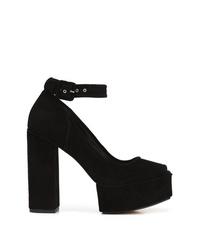 Zapatos de tacón de ante gruesos negros de Alexander Wang