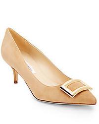 Zapatos de tacón de ante marrón claro