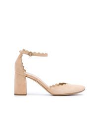 Zapatos de tacón de ante marrón claro de Chloé