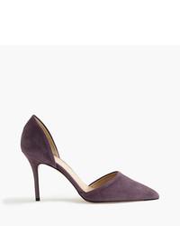 Zapatos de tacón de ante morado oscuro