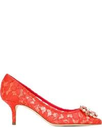 Zapatos de tacón de ante rojos de Dolce & Gabbana