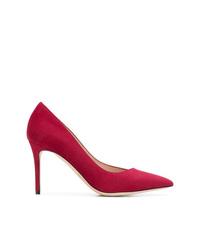 Zapatos de tacón de ante rojos de Giorgio Armani