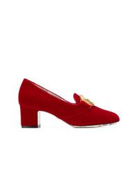 Zapatos de tacón de ante rojos de Gucci