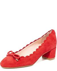Zapatos de tacón de ante rojos de Kate Spade