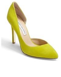 Zapatos de Tacón de Cuero Amarillo Verdoso