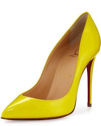 Zapatos de Tacón de Cuero Amarillo Verdoso de Christian Louboutin