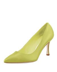 Zapatos de Tacón de Cuero Amarillo Verdoso de Manolo Blahnik