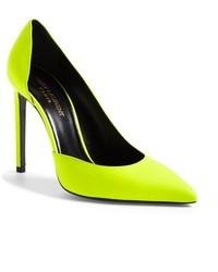 Zapatos de Tacón de Cuero Amarillo Verdoso de Saint Laurent