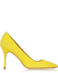 Zapatos de tacón de cuero amarillos de J.Crew
