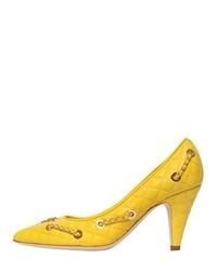 Zapatos de Tacón de Cuero Amarillos de Moschino