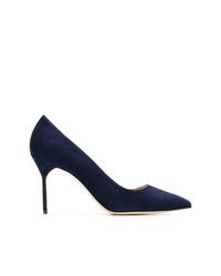 Zapatos de tacón de cuero azul marino de Manolo Blahnik