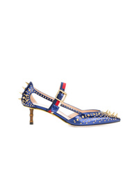 Zapatos de tacón de cuero azules de Gucci
