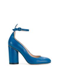 Zapatos de tacón de cuero azules de Stuart Weitzman