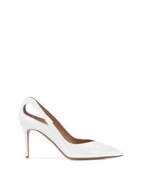 Zapatos de tacón de cuero blancos de Aquazzura