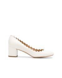 Zapatos de tacón de cuero blancos de Chloé