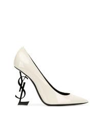 Zapatos de tacón de cuero blancos de Saint Laurent