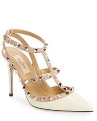 Zapatos de Tacón de Cuero Blancos de Valentino