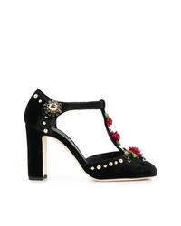Zapatos de tacón de cuero bordados negros de Dolce & Gabbana