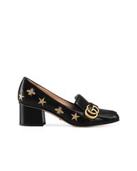 Zapatos de tacón de cuero bordados negros de Gucci