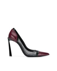 Zapatos de tacón de cuero burdeos de Lanvin
