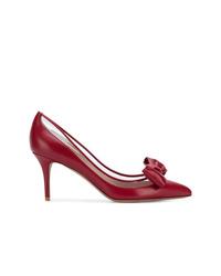 Zapatos de tacón de cuero burdeos de Valentino