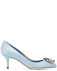 Zapatos de tacón de cuero celestes de Dolce & Gabbana