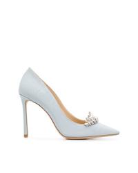 Zapatos de tacón de cuero celestes de Jimmy Choo