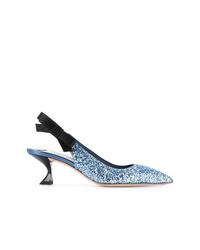Zapatos de tacón de cuero celestes de Miu Miu