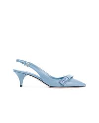 Zapatos de tacón de cuero celestes de Prada