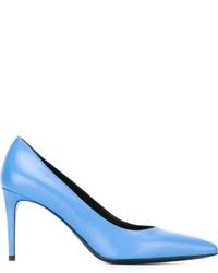 Zapatos de tacón de cuero celestes de Saint Laurent