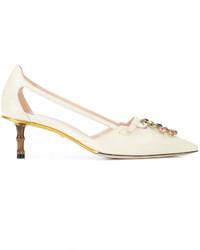 Zapatos de Tacón de Cuero con Adornos Blancos de Gucci