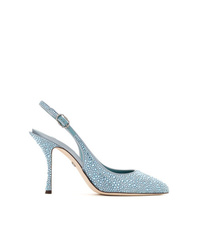Zapatos de tacón de cuero con adornos celestes de Dolce & Gabbana