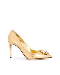 Zapatos de tacón de cuero con adornos dorados de Dolce & Gabbana