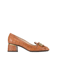 Zapatos de tacón de cuero con adornos en tabaco de Tod's