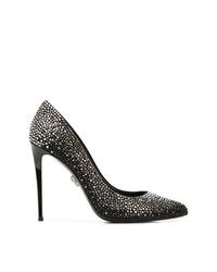 Zapatos de tacón de cuero con adornos negros de Philipp Plein