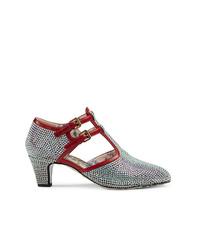 Zapatos de tacón de cuero con adornos plateados de Gucci