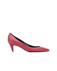 Zapatos de tacón de cuero con adornos rojos de Saint Laurent