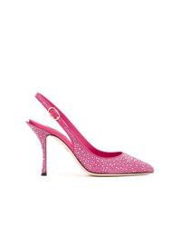 Zapatos de tacón de cuero con adornos rosa de Dolce & Gabbana