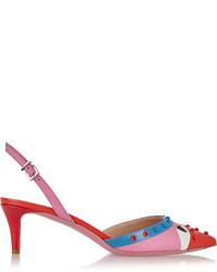 Zapatos de tacón de cuero con adornos rosa de Fendi