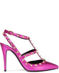 Zapatos de tacón de cuero con adornos rosa de Valentino