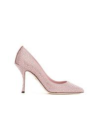 Zapatos de tacón de cuero con adornos rosados de Dolce & Gabbana