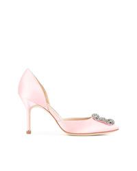 Zapatos de tacón de cuero con adornos rosados de Manolo Blahnik