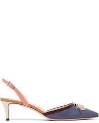 Zapatos de Tacón de Cuero con Adornos Violeta Claro de Fendi