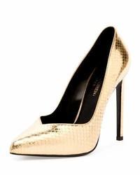 Zapatos de tacón de cuero con print de serpiente dorados de Saint Laurent