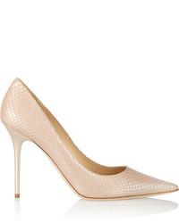 Zapatos de tacón de cuero con print de serpiente en beige de Jimmy Choo