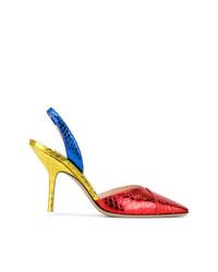 Zapatos de tacón de cuero con print de serpiente en multicolor de ATTICO