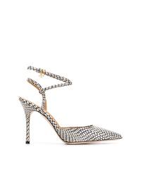 Zapatos de tacón de cuero con print de serpiente en negro y blanco de Tory Burch
