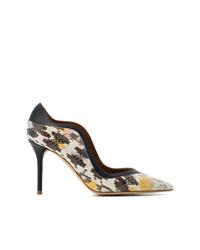 Zapatos de tacón de cuero con print de serpiente grises de Malone Souliers