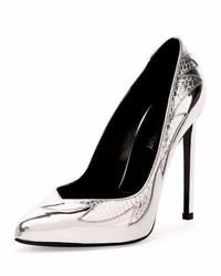 Zapatos de tacón de cuero con print de serpiente plateados de Saint Laurent